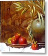 Hunting Tapestry With Chinese Vase And Apples Metal Print