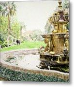 Huntington Fountain Morning Mist Metal Print by David Lloyd Glover