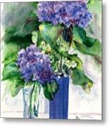 Hydrangeas In Vases Metal Print