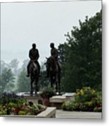 Hyrum And Joseph Smith Statue In The Mist From The Mississippi Metal Print