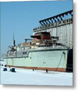Ice Fishing On Lake Erie Metal Print