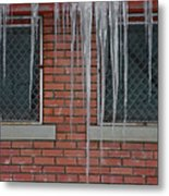 Icicles 2 - In Front Of Windows Off Red Brick Bldg. Metal Print