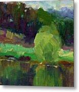 Impressionistic Oil Landscape Lake Painting Metal Print