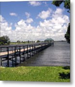 Indialantic Pier On The Indian River Lagoon In Central Florida Metal Print
