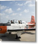 Instructor Pilot And Student In A T-34 Metal Print