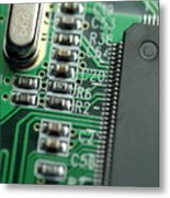 Integrated Circuit On A Computer Usb Board Metal Print by Sami Sarkis