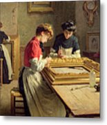 Interior Of A Frame Gilding Workshop Metal Print by Louis Emile Adan