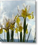 Irises Yellow White Iris Flowers Storm Clouds Sky Art Prints Baslee Troutman Metal Print