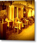 Italian Cafe In Golden Sepia Metal Print