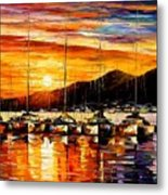 Italy - Naples Harbor- Vesuvius Metal Print