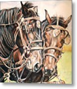 Jack And Joe Hard Workin Horses Metal Print