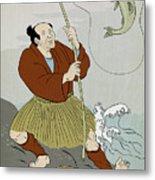 Japanese Fisherman Fishing Catching Trout Fish Metal Print by Aloysius Patrimonio