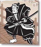Japanese Samurai Warrior Sword On Bridge Metal Print by Aloysius Patrimonio