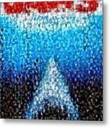 Jaws Horror Mosaic Metal Print