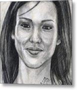 Jessica Alba Portrait Metal Print