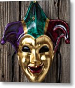 Jester Mask Hanging On Wooden Wall Metal Print
