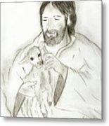 Jesus Holding Lamb Metal Print by Sonya Chalmers