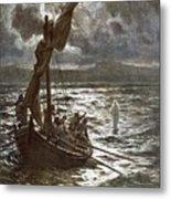 Jesus Walking Upon The Sea Metal Print