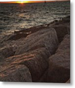 Jetties At Port Aransas Texas Gulf Coast Metal Print