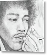 Jimi Hendrix Artwork Metal Print by Roly Orihuela