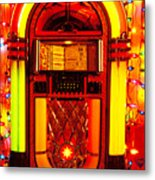 Juke Box With Christmas Lights Metal Print