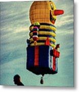 Just Passing Through  Hot Air Balloon Metal Print by Bob Orsillo
