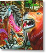 Kate The Zebra And  Lion Carousel  Metal Print