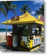 Kiosk On Ipanema Beach Metal Print by George Oze