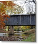 Kissing Bridge At Fall Metal Print
