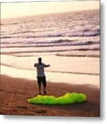 Kite Flying At The Beach Metal Print