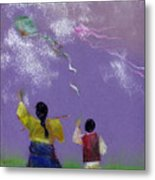 Kite Flying Metal Print