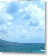 Kite Surfing With A Nevis Background Metal Print