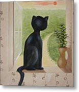 Kitty In The Window Metal Print