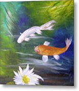 Kohaku Koi And Water Lily Metal Print