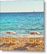 La Croisette Beach, Cannes, Cote D'azur, France Metal Print by John Harper