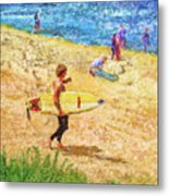 La Jolla Surfers Metal Print by Marilyn Sholin
