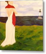 Lady At The Ocean Metal Print