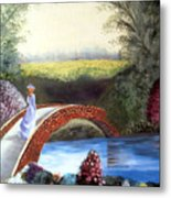 Lady On The Bridge Metal Print