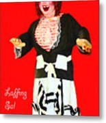 Laffing Sal - Playland At The Beach - San Francisco - 7d14361 - Red With Text Metal Print by Wingsdomain Art and Photography