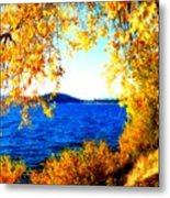 Lake Coeur D'alene Through Golden Leaves Metal Print