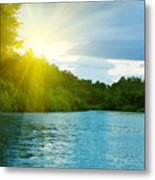 Lake In Deep Forest Metal Print