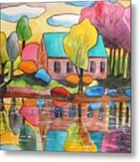 Lakeside Dream House Metal Print