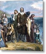 Landing Of Pilgrims, 1620 Metal Print by Granger