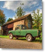 Landrover And The Barn Metal Print