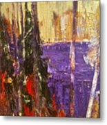 Landscape Abstract In Purple Metal Print