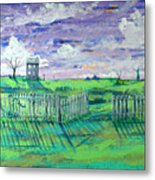 Landscape With Fence Metal Print