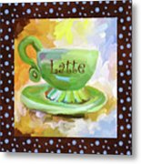 Latte Coffee Cup With Blue Dots Metal Print
