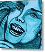 Laughing Girl In Blue Metal Print