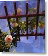 Laura's Rose Trellis 2 Metal Print by Jen White