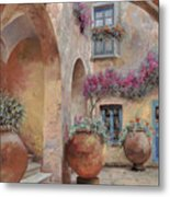 Le Arcate In Cortile Metal Print by Guido Borelli